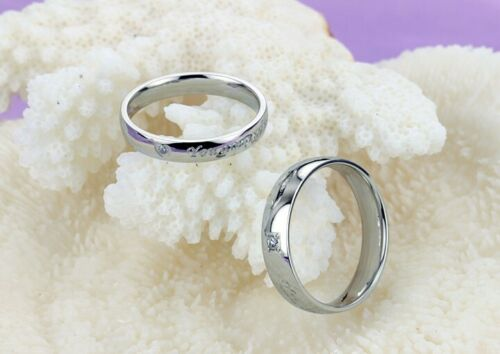 /'You Are Perfect In My Mind/' Crystal Stainless Steel Wedding Band Ring UK SZ K-W