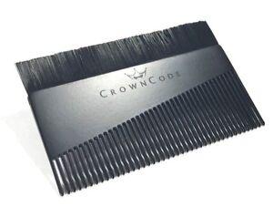 Beard-Comb-amp-Brush-for-Men-Wallet-Pocket-Travel-Size-Aluminum-Metal-Black-Comb