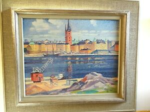 Original oil painting Riddarholmen Stockholm Stig Jonzon (1913-1987)  landscape