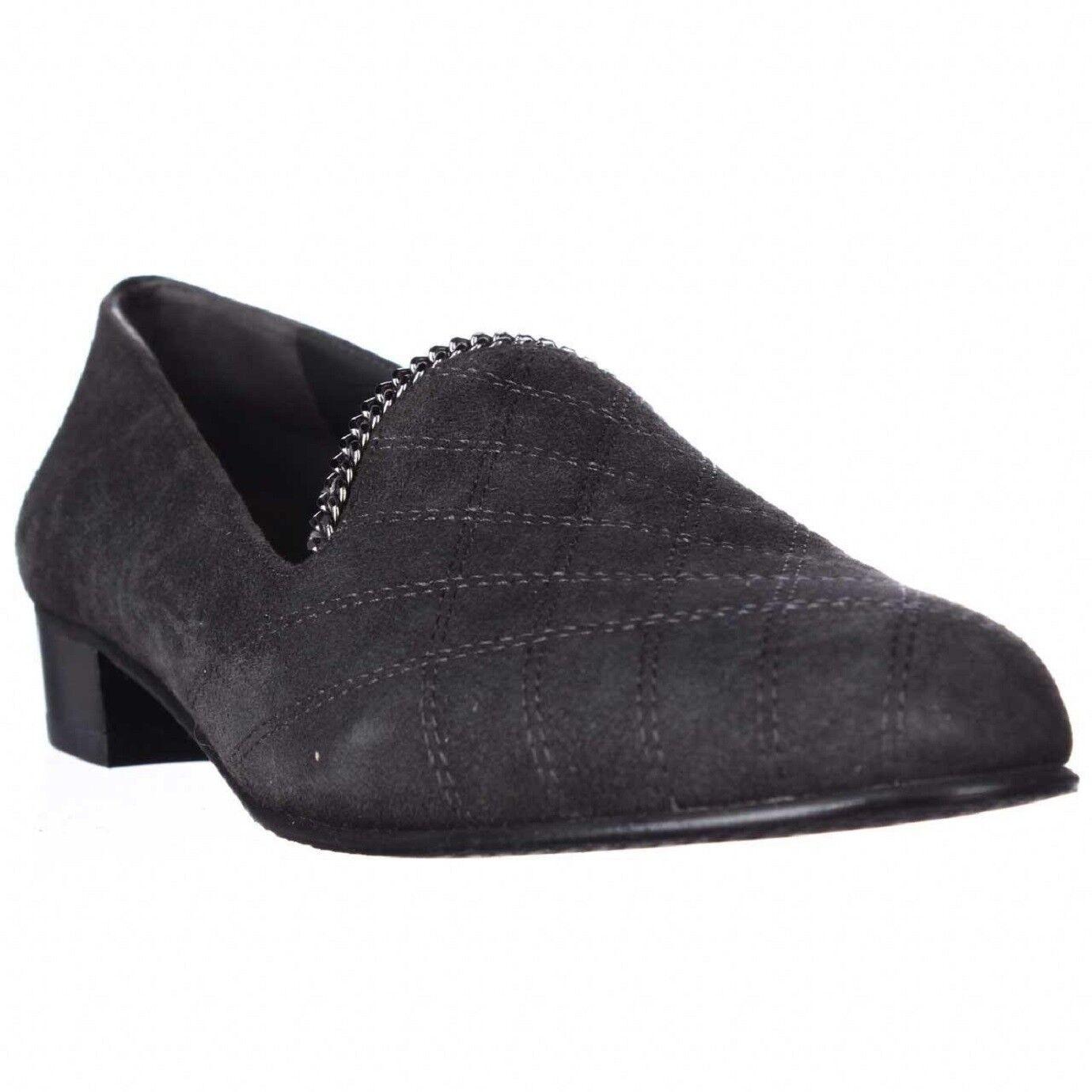 375 Stuart Weitzman femmes Hallmark Suede Loafer chaussures Slate 7.5 NEW IN BOX