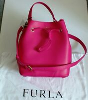 Furla Pink Drawstring Purse With Zippered Pouch & Dust Bag