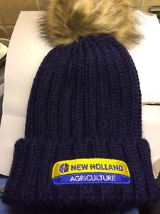 Image is loading NEW-HOLLAND-FUR-BOBBLE-BEANIE-HAT-LADIES-NAVY 43becf75e8b