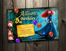 BRAVE MERIDA princess BIRTHDAY PARTY INVITATION photo CARD CUSTOM INVITES baby