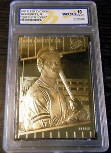 1997 KEN GRIFFEY JR 1989 FLEER 23K GOLD SCULPTURED ROOKIE CARD - GEM MINT 10