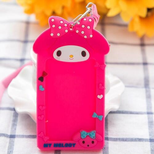 Girl Kids Silicone Cute ID Badge Cover Business Work Bus Card Case Lanyard Hold