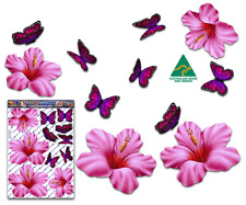 Jas Stickers Flower Car Sticker Pink Hibiscus Butterfly Lge Pack St023pk3
