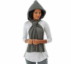 MUK-LUKS-Faux-Fur-Lined-Hooded-Scarf-w-Loop-Closure-Grey-Retail-34-Cute