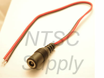 1FT 18AWG DC Power Cable Female Plug Connector Pigtail CCTV Alarm 5.5*2.1mm LED