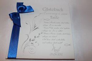 Hardcover-Gaestebuch-zur-Taufe-Taufgeschenk-Taufbuch-weiss-dunkelblau