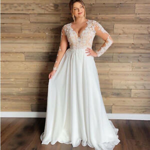 Details about Plus Size Boho Wedding Dresses V-neck Long Sleeve Lace  Chiffon Beach Bridal Gown