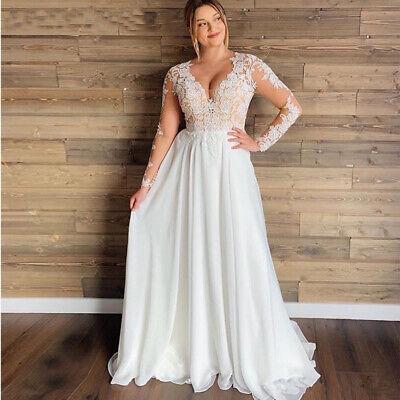 Chiffon Lace Cap Sleeve Beach Wedding Dress Bridal Gowns All Size Boho Custom