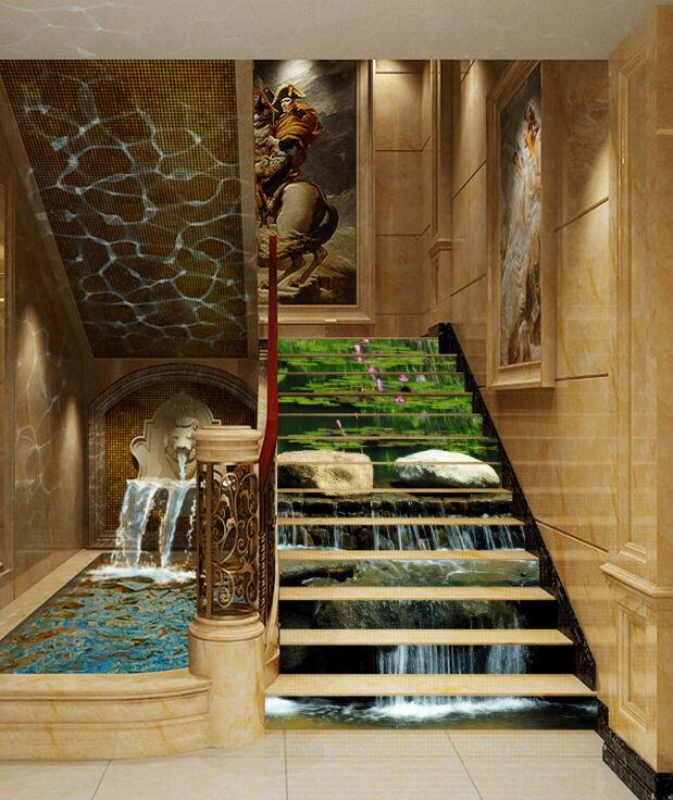 3D Lotus Stein 5877 Stair Risers Dekoration Fototapete Vinyl Aufkleber Tapete DE