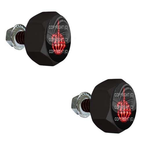 2 Black Metal Hex License Frame Tag Bolts - RED SKULL FINGER FU B068