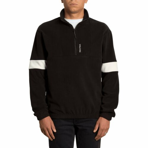 VOLCOM RRP £70 S-XL Mens Quarter Zip Sherpa Fleece Crew Black