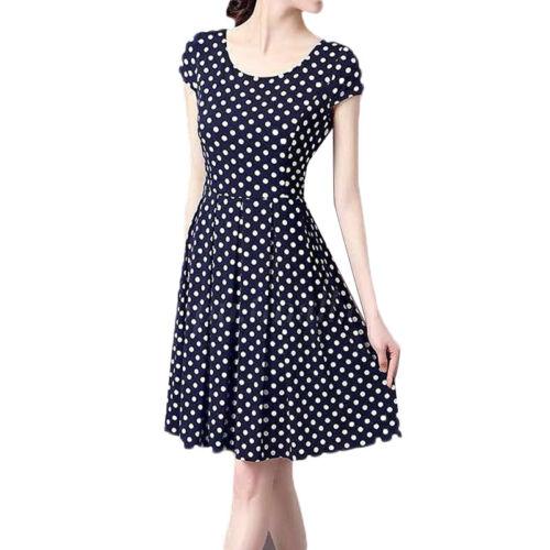 Damen Polka Dot Kurzarm Kleid Party Sommerkleid Strandkleid Tanzkleider Kleider