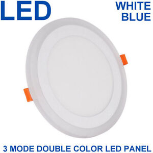 18 W Del Rond Encastré Plafond Panneau 3 En 1 Couleur Cool White & Blue Spotlight-afficher Le Titre D'origine