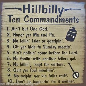 Hillbilly 10 Commandments Primitive Country Wood Sign Home Decor Ebay
