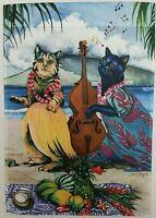 Luau Beach Cats In Hawaiian Shirt Garden Flag 12.5x18