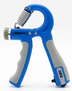 Blue portable fitness equipment with adjustable and countable grip
