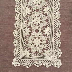 Doily HAND CROCHETED Lace Dresser Runner Scarf Topper Cotton TABLECLOTH White Classic