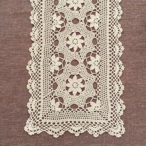 Vintage-Crochet-Table-Runner-Dresser-Scarf-Ecru-Lace-Doily-15x82inch-Cotton