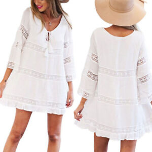 Ladies-Womens-Summer-3-4-Sleeve-Loose-Lace-Boho-Beach-Short-Mini-Party-Dress-New