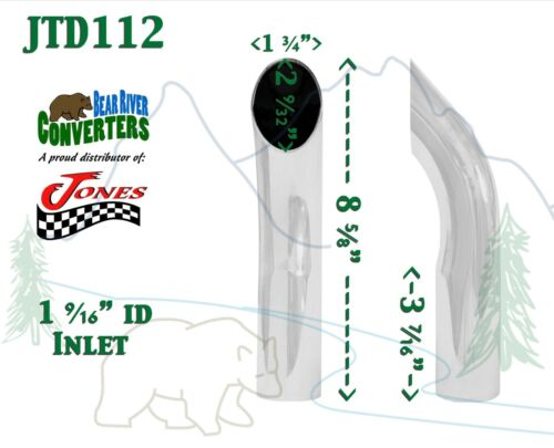 """8/"""" Long JTD112 1.5/"""" Chrome Turn Down Exhaust Tip 1 1//2/"""" Inlet 1 3//4/"""" Outlet"""