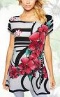 Tunic Top White Black Red Floral Plus Size 10 12 14 16 18 20 EVERSUN Square Neck