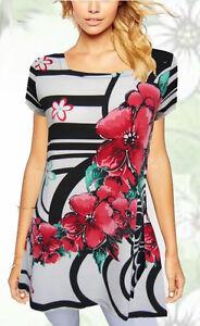 Tunic-Top-White-Black-Red-Floral-Plus-Size-10-12-14-16-18-20-EVERSUN-Square-Neck