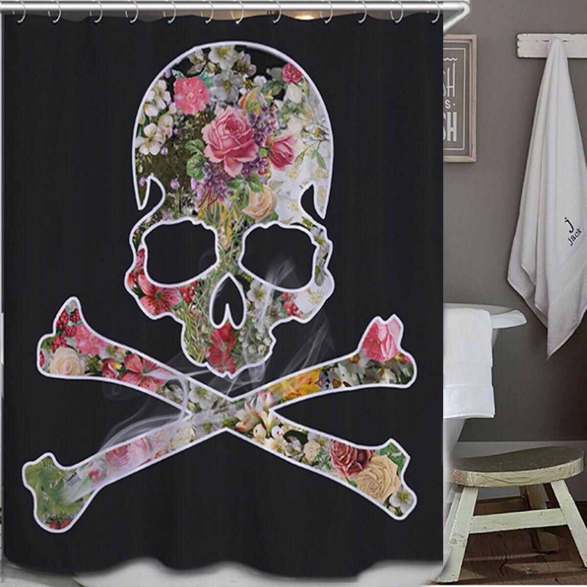 Waterproof Skull Cross Bones Shaped Flowers Bathroom Shower Curtain 12 Hooks