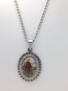 Catholic medal saint francis of assisi pendant necklace san image is loading catholic medal saint francis of assisi pendant necklace aloadofball Choice Image