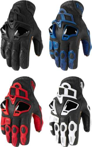 Motorcycle Street Bike Riding Race Leather Mens Icon Hypersport Short Gloves