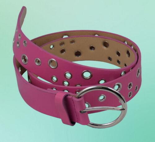 Damen Gürtel Metallgürtelschnalle Nieten Rosa Pink S M L XL