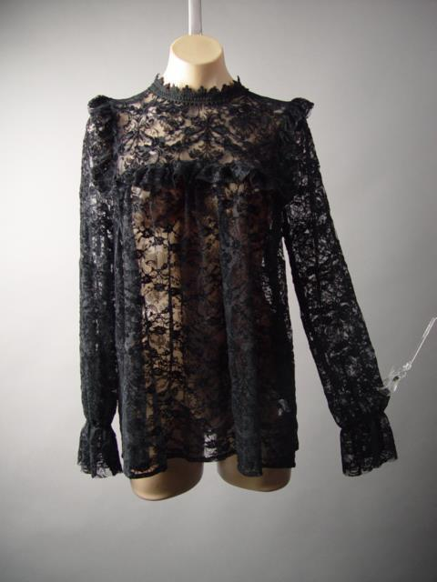 Black Sheer Lace Victorian Gothic High Neck Poet Sleeve Top 217 mv Blouse M L