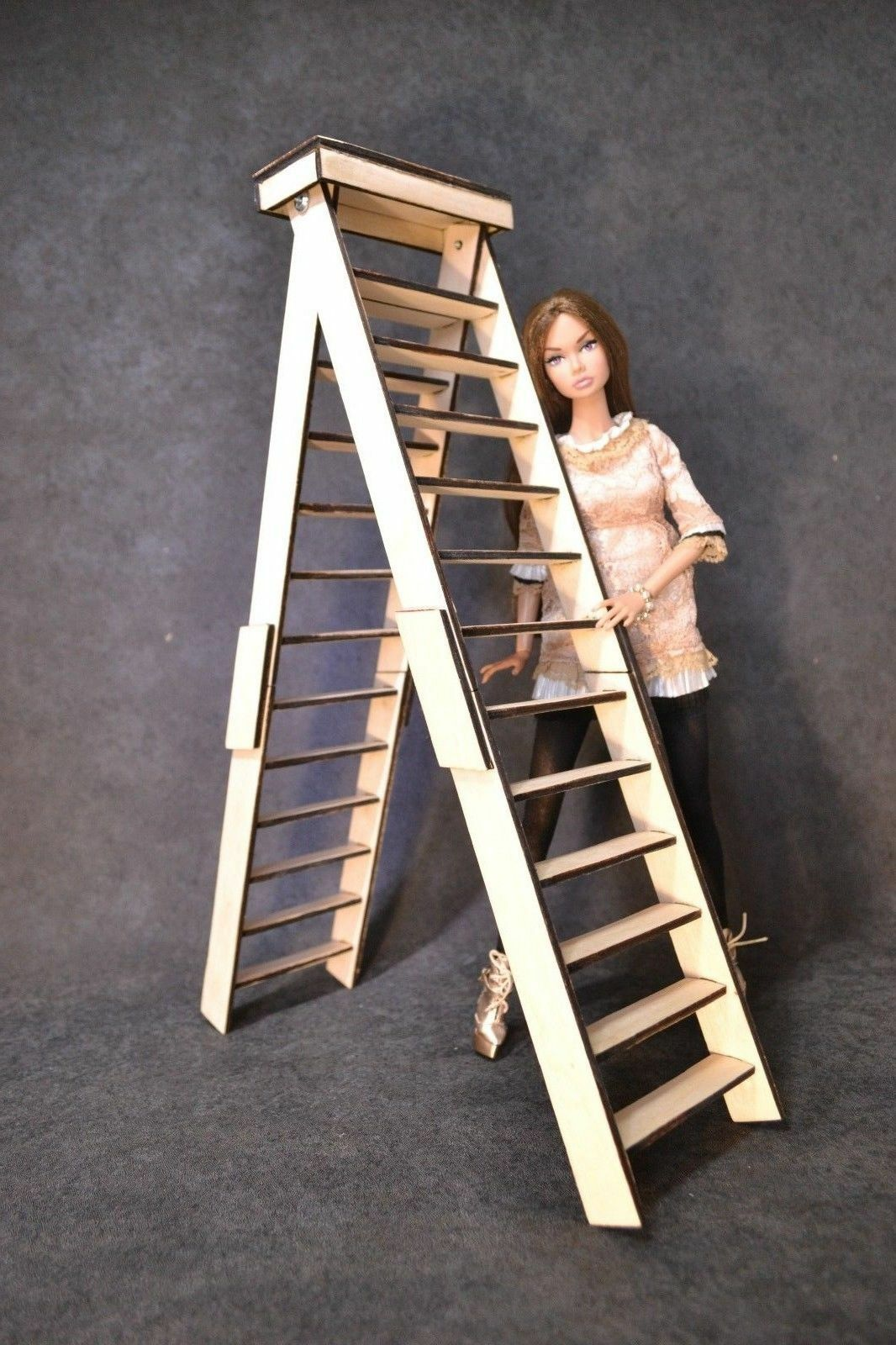 Escalera Escalera 1 6 Muebles Para Muñecas Barbie FR Hecho a Mano Diorama HQ