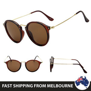 Womens-Round-Brown-Frame-Retro-Fashion-Sunglasses