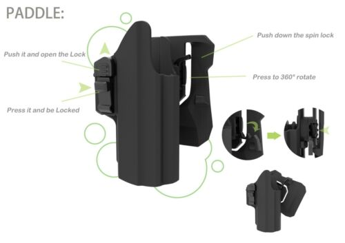 Right //Left Handed universal holster fits Glock,H/&K,Browning,Ruger,S/&W,Taurus,