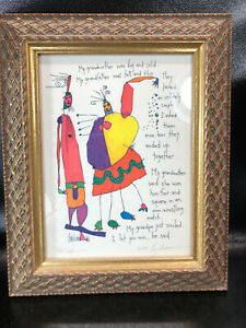 Brian Andreas Storypeople Print Odd Couple Signed 1994 Framed