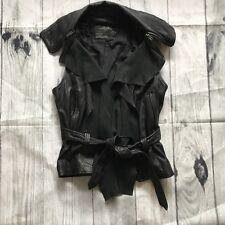 All Saints Manu Genuine Leather Black Gilet Biker Sleeveless Jacket 12 Waterfall