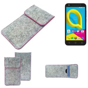 Copertura-in-feltro-p-Alcatel-U5-grigio-chiaro-bordo-rosa-Custodia-tasca-borsa