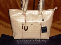 Arcadia Italian Patent Leather Tote Cream + Red Accents + Card Slots 3069