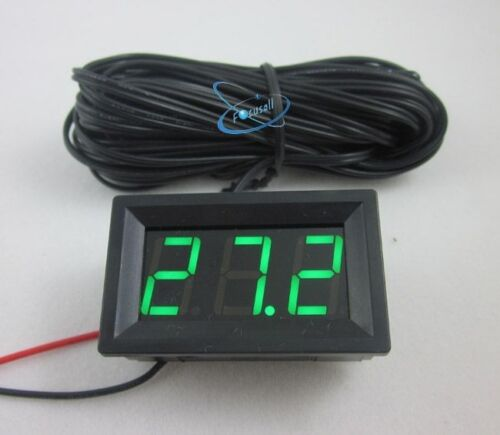 50~110C Green LED DC 12V Digital Temperature Thermometer 5m Temp Sensor Probe