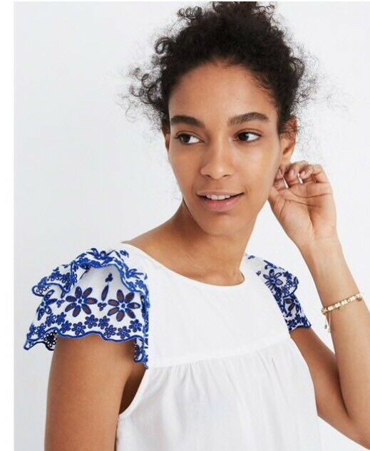 NWT     Madewell Embroiderot Story Top Blouse Weiß And Blau Größe 0