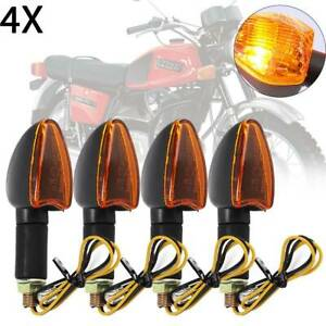 4x-LONG-amp-SHORT-STEM-MOTORCYCLE-BULB-INDICATORS-BLACK-WITH-AMBER-LENS-MOTORBIKE-UK