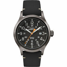 Timex Men's Expedition Analog Elevated Black Leather Strap Watch TW4B01900