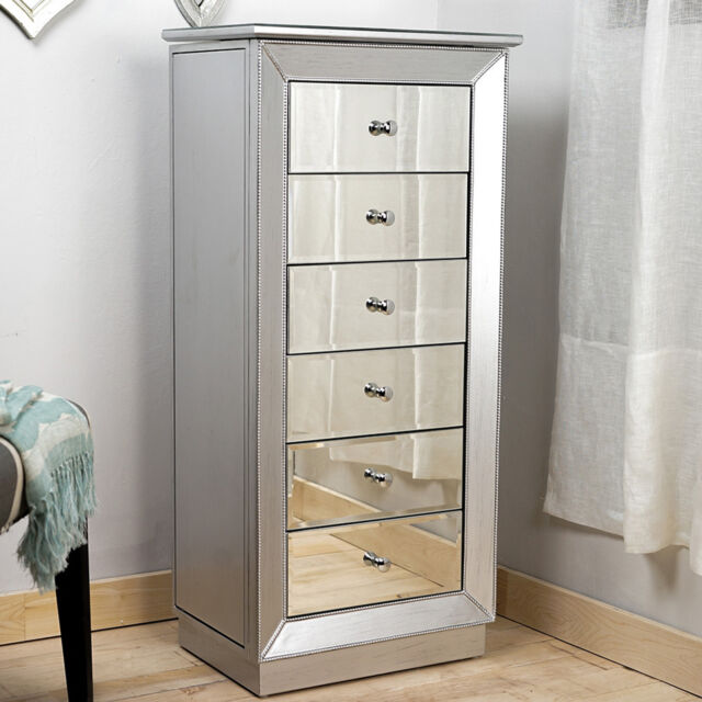 Mirrored Jewelry Armoire 6 Drawer Box Organizer Silver Finish Storage Chest New