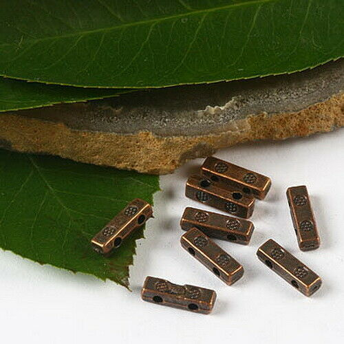80pcs copper-tone 2 holes bar spacer beads h2364