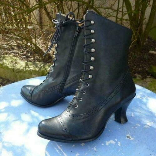 Details about  /New Women Victorian Ankle Boots Steampunk Lace Up High Heel Rustic Leather Shoes