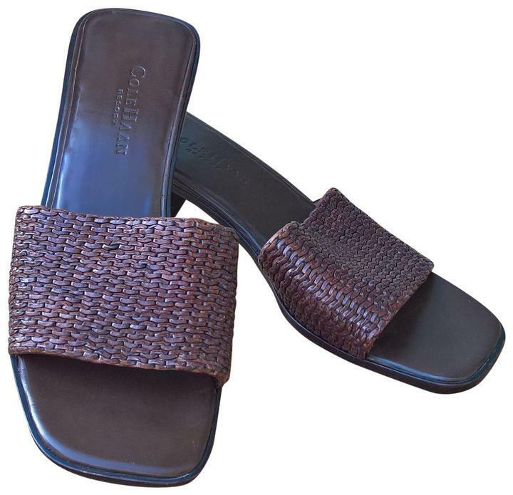 COLE HAAN RESORT Brazil Woven Brown Leather Slides Womens Sandals shoes  310 8 N