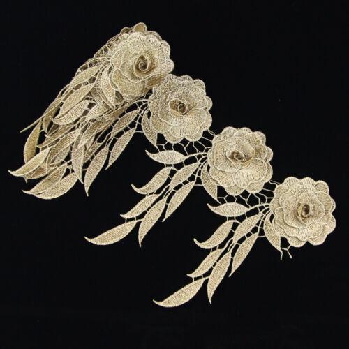 1Yd Venise Floral Lace Embroidered Applique Trim Patch Sewing Craft Dress Decor